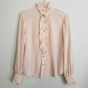 Rebecca Taylor Blush Pink Button Down Silk Blouse